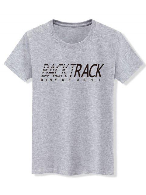 Kurzarm Grafik Grundlegendes T-Shirt - Grau XL Mobile
