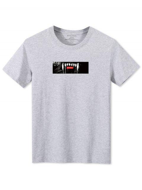 T-shirt a Maniche Corte con Grafica di Denti - Grigio L Mobile