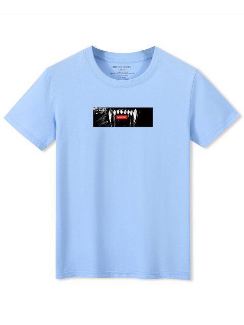 T-shirt a Maniche Corte con Grafica di Denti - Blu Chiaro XS Mobile
