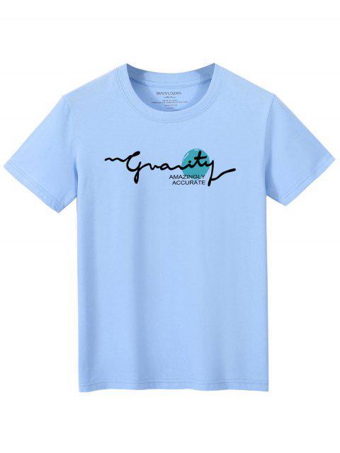 women Letters Graphic Print Short Sleeve T-shirt - LIGHT BLUE XL Mobile