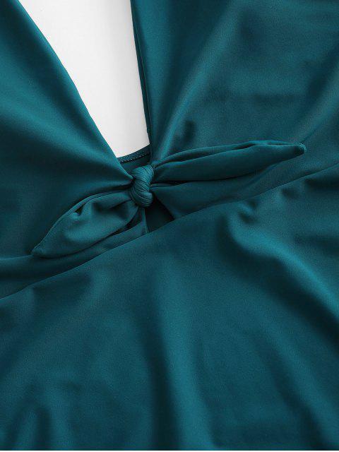 ZAFUL Maillot de Bain Plongeant Noué sans Dos de Grande Taille Une-Pièce - Bleu Verdâtre 4X Mobile