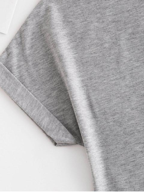 T-shirt de Base Magnifique Graphique Manches à Revers - Gris M Mobile
