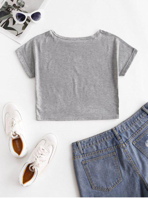 fashion Cuffed Sleeve Beautiful Graphic Basic Tee - GRAY M Mobile