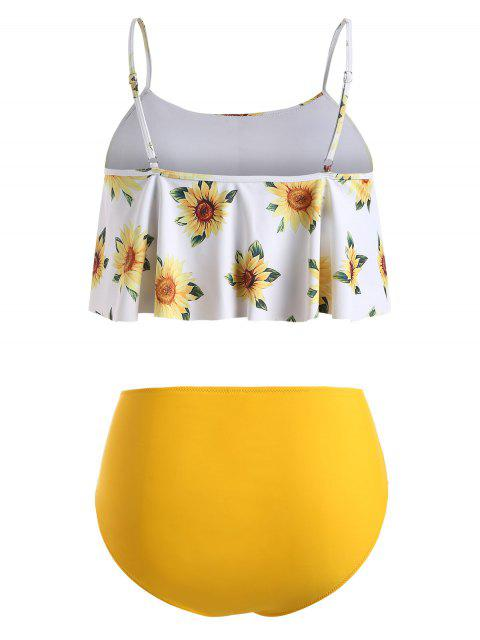 shop ZAFUL High Waisted Flounces Sunflower Plus Size Tankini Swimwear - MUSTARD 1X Mobile