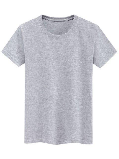 Camiseta Llana de Mangas Cortas - Gris M Mobile