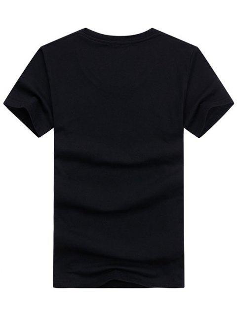 Camiseta Llana de Mangas Cortas - Negro L Mobile