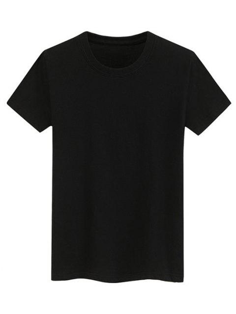 Camiseta Llana de Mangas Cortas - Negro S Mobile