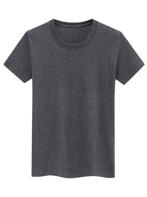 Camiseta Llana de Mangas Cortas - Gris Oscuro S Mobile