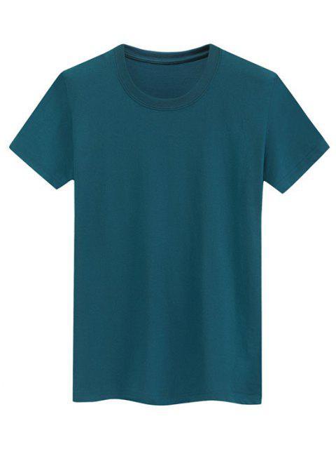 Camiseta Llana de Mangas Cortas - Aguamarina Mediana M Mobile