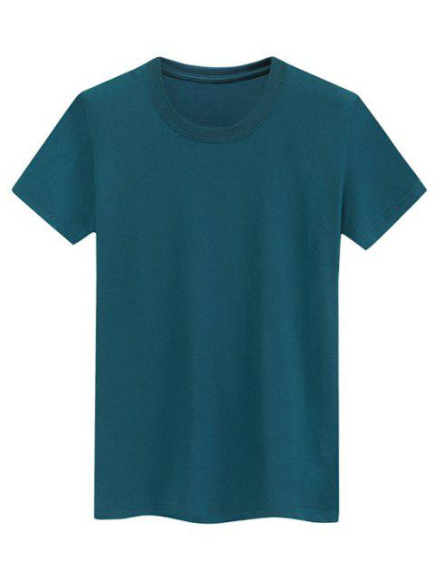 Camiseta Llana de Mangas Cortas - Aguamarina Mediana S Mobile