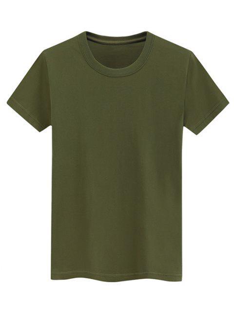 Camiseta Llana de Mangas Cortas - Ejercito Verde M Mobile