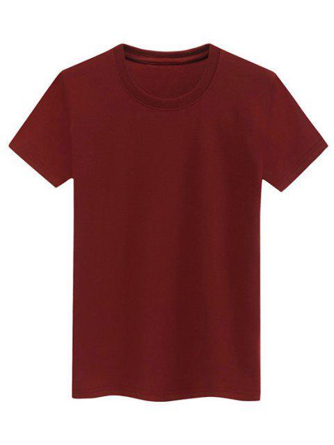 Camiseta Llana de Mangas Cortas - Vino Tinto M Mobile