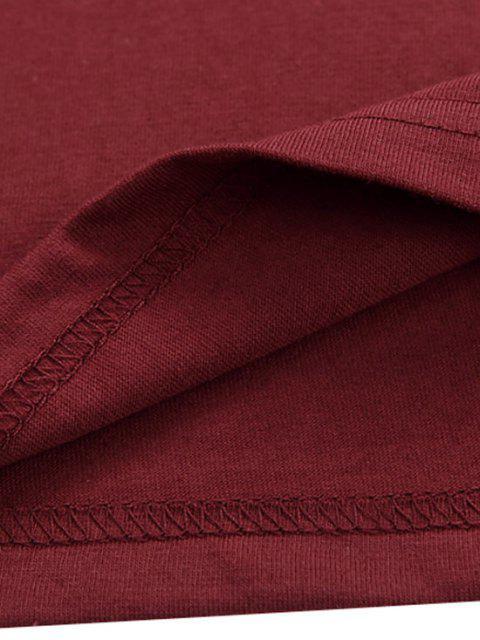 Camiseta Llana de Mangas Cortas - Vino Tinto S Mobile