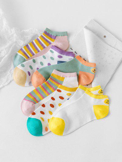 6Pairs Dot Stripe Invisible Socks Set