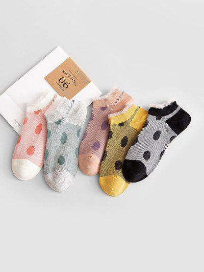 5Pairs Print Dots Socks Set