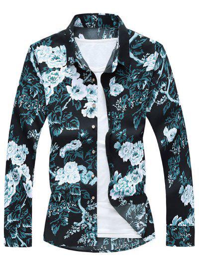 Camisa De Botón De Impresión De Flores - Mar Verde Mediana S
