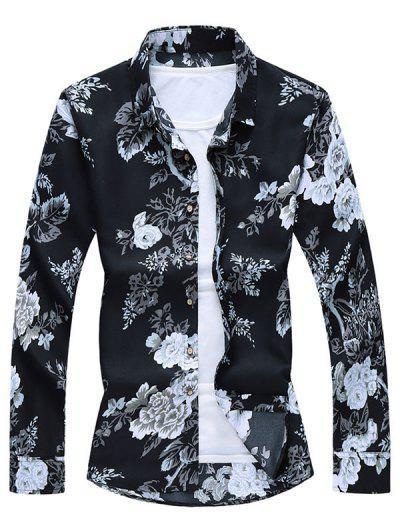 Camisa De Botón De Impresión De Flores - Negro L