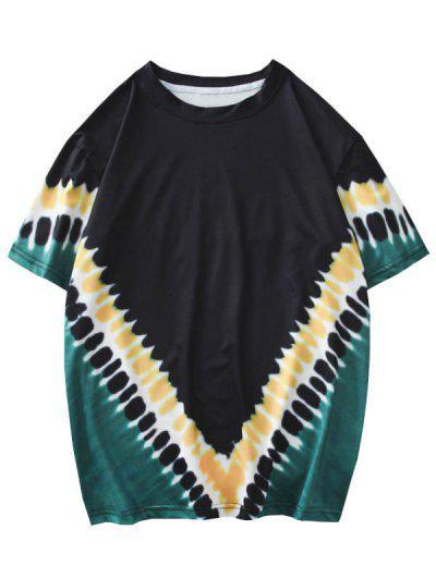 Camiseta De Tie Dye Con Mangas Cortas - Negro L