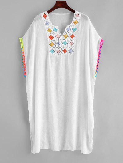 Crochet Panel Colorful Pompoms Beach Dress