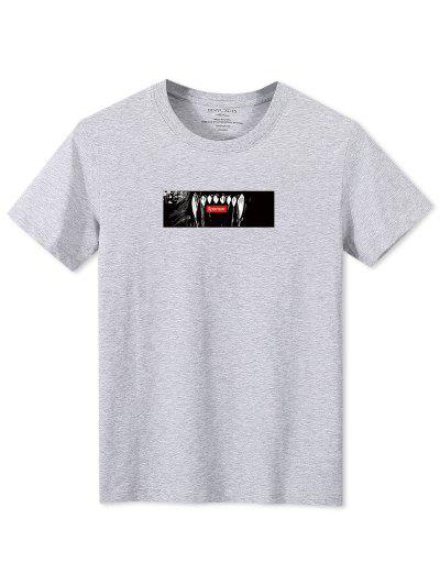 Animal Teeth Print Short Sleeve T-shirt - Gray Xl