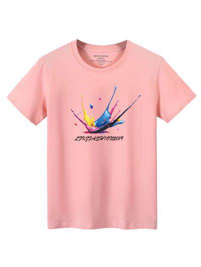 Splatter Graphic Lounge Crew Neck T Shirt - Light Pink Xl