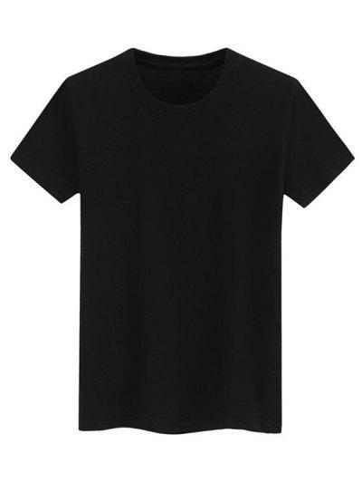 Short Sleeve Plain Tee - Black M