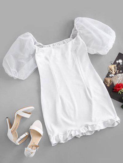 Puff Sleeves Ruffled Bodycon Dress - White S