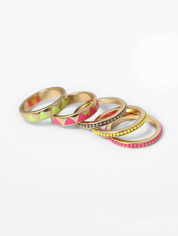 Ethnic Geo Beads Ring Set