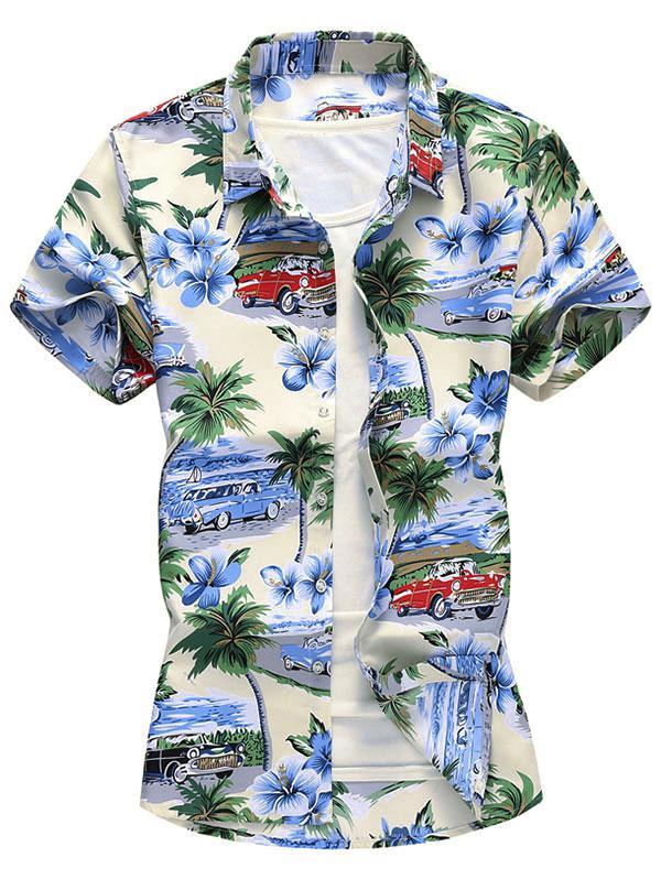 Button Down Palm Tree Car Floral Shirt thumbnail