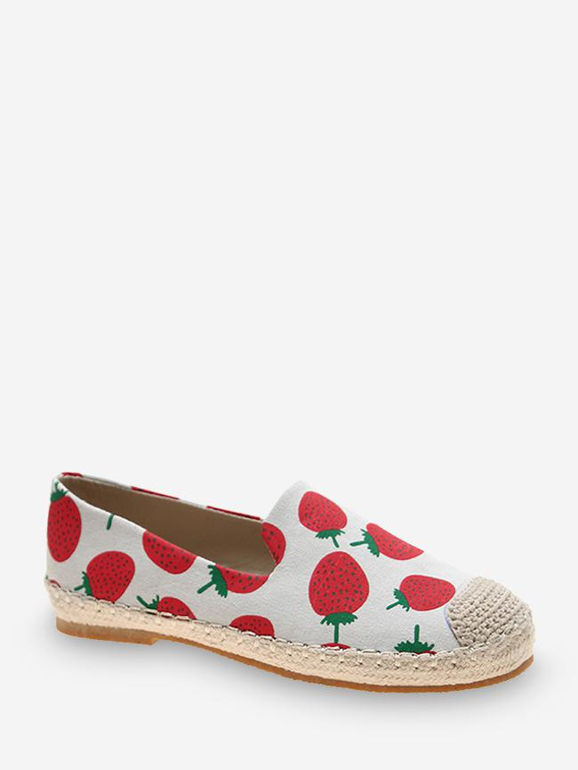 Fruit Print Cloth Loafer Flat Shoes