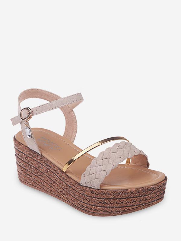 Wavy Hem Wedge Heel Espadrilles Sandals