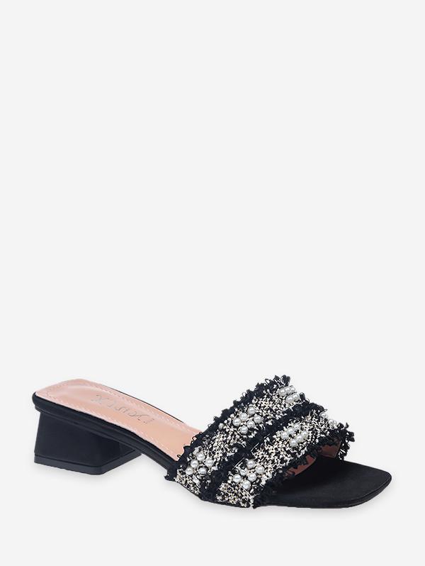 Distressed Trim Faux Pearl Chunky Heel Slides