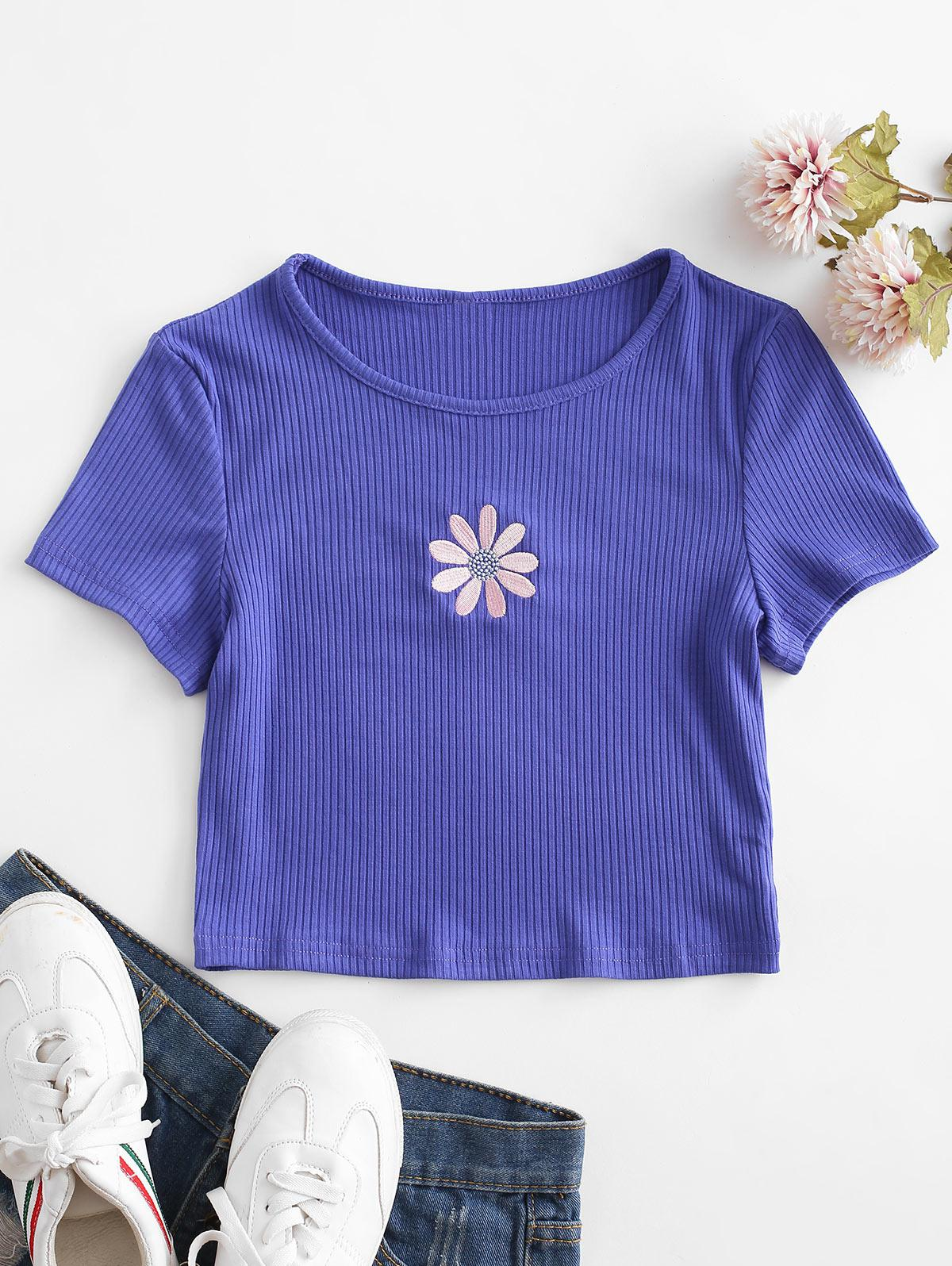 Floral Embroidered Ribbed Crop Tee thumbnail
