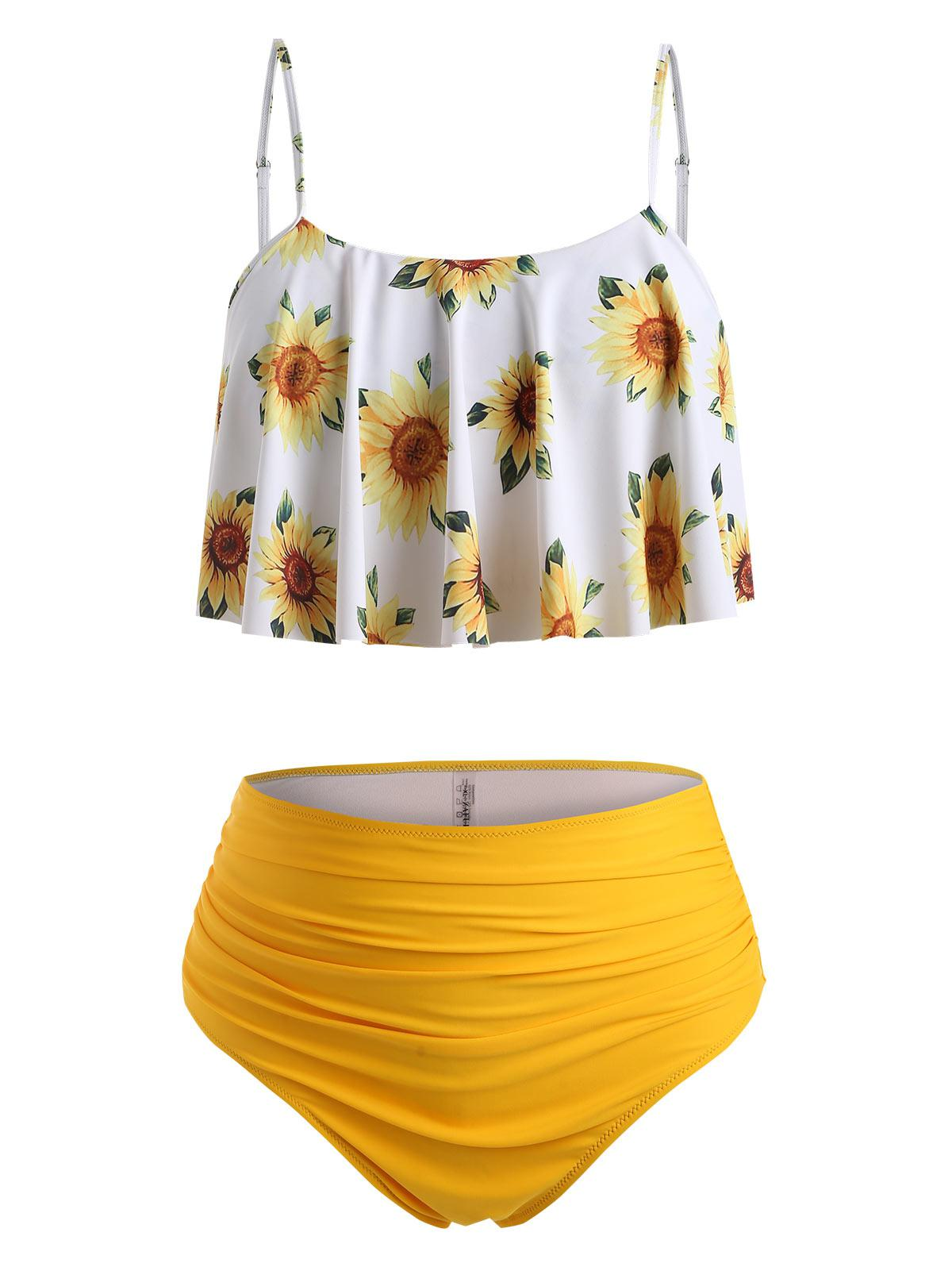 ZAFUL High Waisted Flounces Sunflower Plus Size Tankini Swimwear