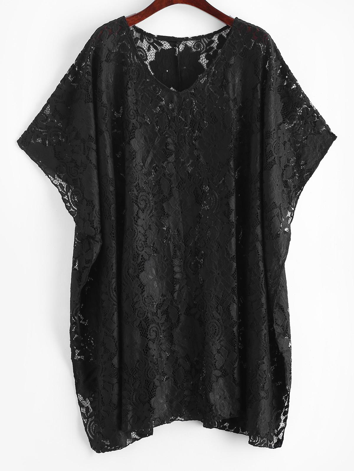 Side Slit Beach Lace Cover Up Top thumbnail