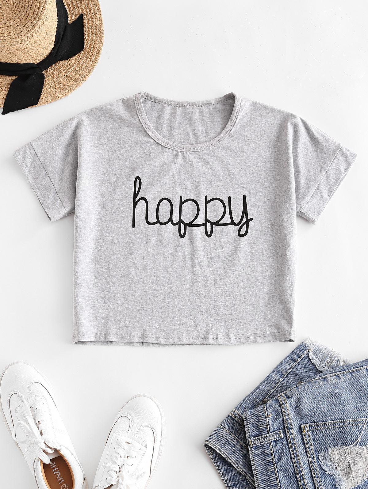 Cropped Happy Graphic Basic Tee