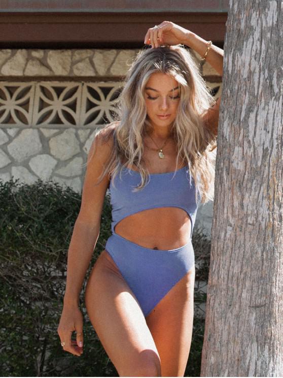 Jessica Howell x ZAFUL Lace-up recorte com nervuras de uma peça Swimsuit - Céu Azul XL