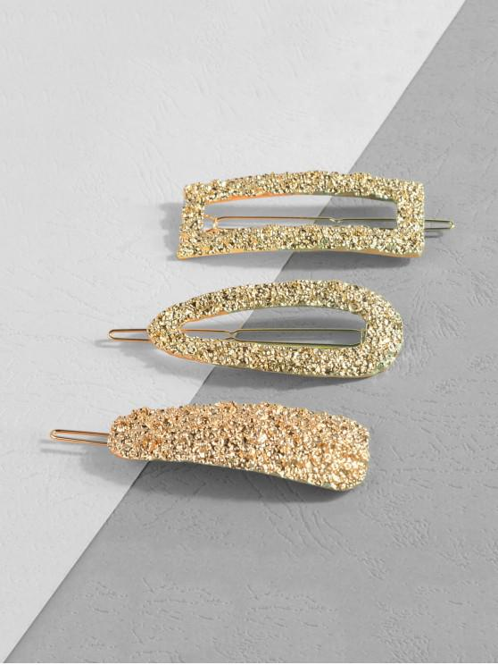 sale Hollow Out Hammered Hair Clips Set - GOLD