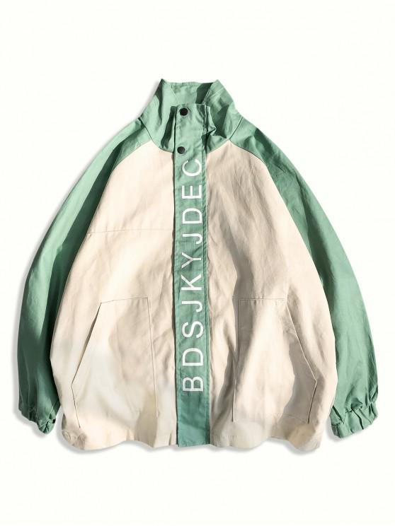 trendy Letter Graphic Front Pockets Raglan Sleeve Jacket - LIGHT GREEN 2XL