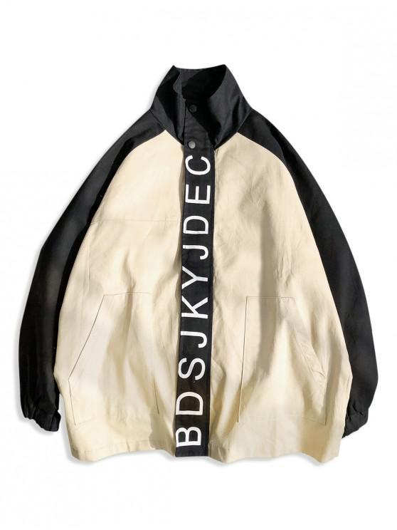 unique Letter Graphic Front Pockets Raglan Sleeve Jacket - BLACK 2XL