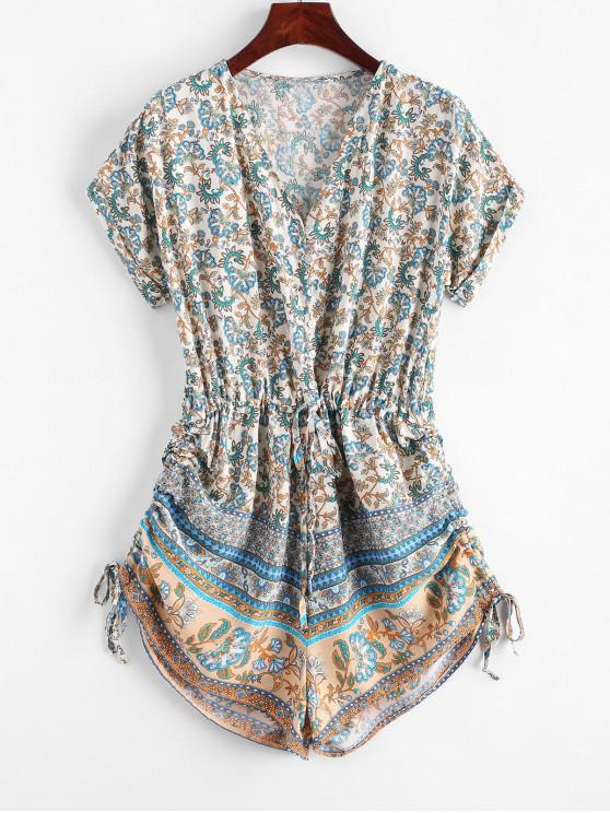 sale Button Loop Cinched Bohemian Printed Romper - MULTI-A S
