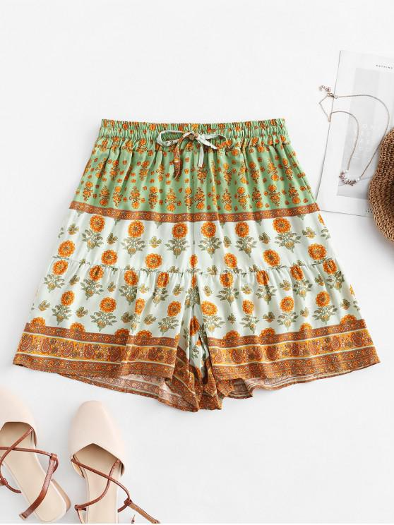 unique Drawstring High Waisted Floral Shorts - MULTI-B L
