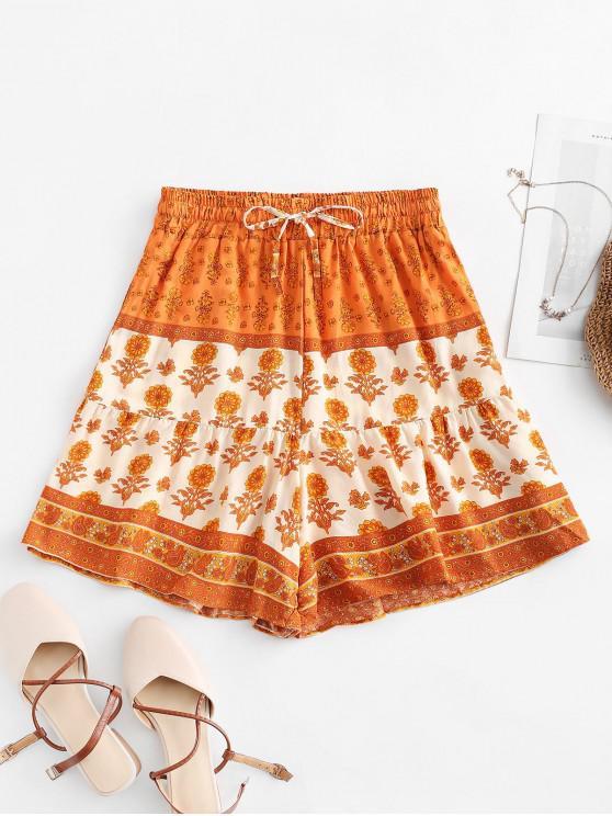 fashion Drawstring High Waisted Floral Shorts - MULTI-A L
