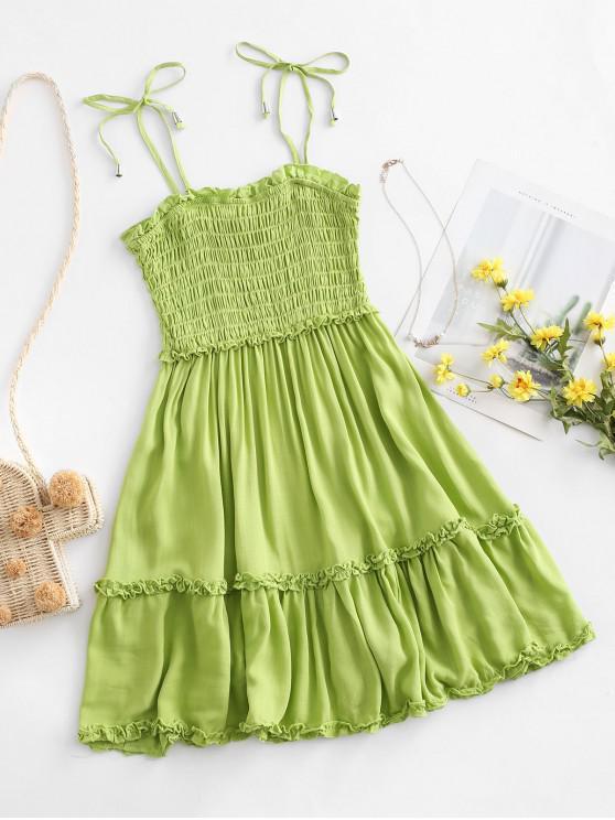 outfit Smocked Tie Shoulder Lettuce Trim Mini Dress - GREEN L