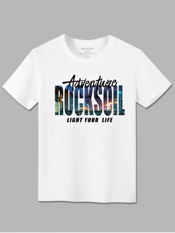 fashion Basic Adventure City Graphic T Shirt - WHITE XL