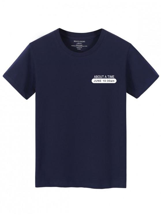 fancy Crew Neck Time Text Lounge Tee - CADETBLUE XS