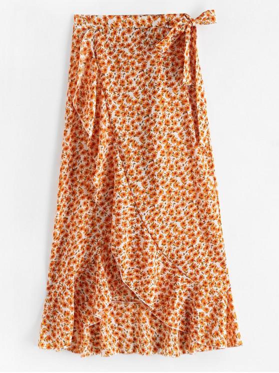 outfits Floral Print Ruffles Asymmetric Wrap Skirt - WHITE XL