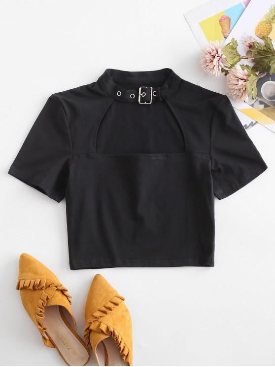 fashion Cut Out Buckle Belted Crop Tee - BLACK S