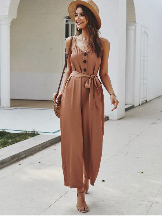 online Buttoned Belted Cami Jumpsuit - RUST S