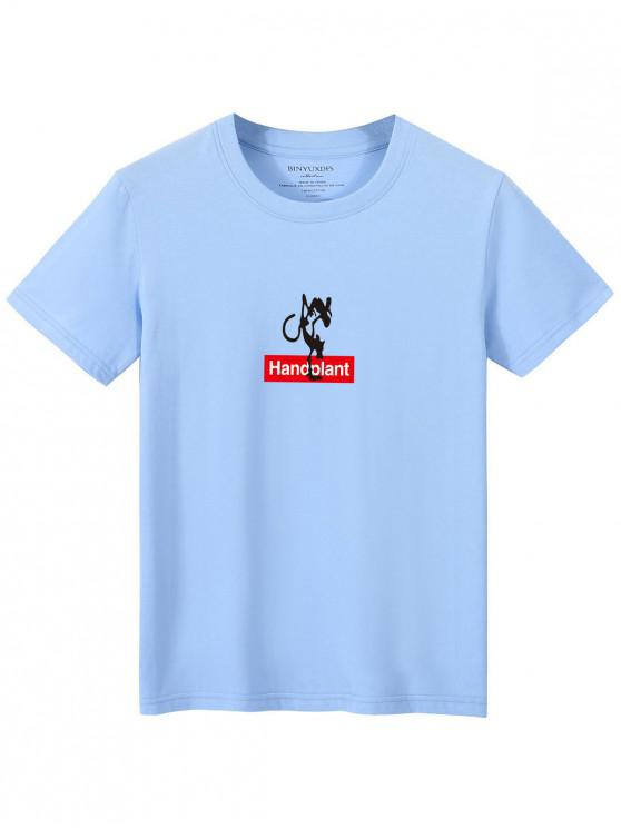 buy Letters Print Casual Graphic T-shirt - LIGHT BLUE XL